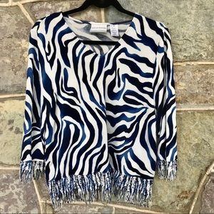 🦓 Blue zebra stripe fringed blouse